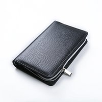 Wholesale Padded Gift Bag - Logo Customized notebook A5 & A6 Business Zipper Bag PU Leather Organizer Planner With Calculator or Memo Pads for white collar