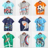 Wholesale Baby Clothes Car Cartoon - Baby animal cartoon T-shirts children boys Car plane print tops 2018 summer Tees Boutique kids Clothing 11 colors C4047
