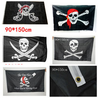 Wholesale jolly roger flag skull - 90x150cm Big Black Jolly Roger Pirate Flags Halloween Props Skull Crossbones Swords Black Flags Haunted House Bar Decor AAA729