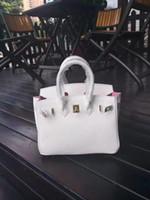 bolsos de cuero genuino blanco al por mayor-25 cm 30 cm 35 cm Marca Totes de color blanco con forro rosado Bolsos de hombro de cuero genuino de señora bolso de la alta calidad del envío gratis