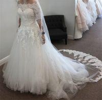 vestido de novia de venecia al por mayor-Venecia en cascada apliques de encaje de novia sin tirantes de bola del vestido vestidos de boda con el vestido de novia chaqueta desmontable sin incluir velo