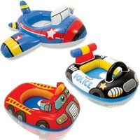 Wholesale children toys trampoline online - Kids Swimming Rings Baby Inflatable Swim Ring Floating Aid Lifebuoy Cute Pool Float Child Police Cars aircraft Fire engine Toys Seat Boat