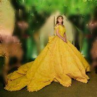gelbe spitze brautkleider großhandel-2019 Erstaunliche Ballkleid Brautkleider Gelb Weg Von Der Schulter Spitze Appliques Tiered Brautkleider Saudi Arabisch Hochzeit Vestidos Nach Maß