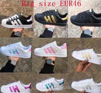 zapatos de gran tamaño al por mayor-Caliente de alta calidad ORO Casual Shoes Superstar para Hombres Mujeres Super star Sneakers Skateboarding Casual Shoes tamaño 36-46 Envío Gratis
