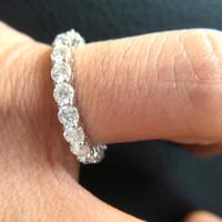 ingrosso oro 14k 585-Solid 14K 585 White Gold Luxury 3mm F Anello di fidanzamento di colore Matrimonio Moissanite Full Eternity Diamond Band per le donne