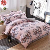 Wholesale Light Pink Queen Sheet Set - 2017 home textile Summer bedding set duvet cover bed sheet coffee fllower beding bedspread Autumn housse de couette five size