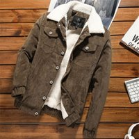 Wholesale Mens Jacket Trend - 2018 New Fashion Trend Mens Jacket Mens Outerwear Mens Coats Solid Color Letter Printing Corduroy Soft Slim Stylish 2 color available M-3XL