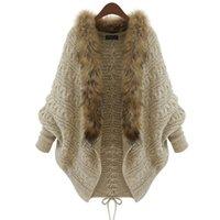 ingrosso lana a ponte-Cardigan donne maglione spesso poncho mantelle Femme autunno inverno manica pipistrello collo di pelliccia maglione di lana lavorato a maglia cardigan lungo 50 S18101005