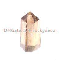 facettierte edelsteine großhandel-Rauchquarz Crystal Tower Point handgeschliffene facettierte natürliche Edelsteinmineralien Obelisk Wand Stick für Crystal Healing, Reiki und Kristallgitter