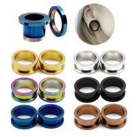 мода ухо пирсинг оптовых-Pair of Steel Screw Ear Plugs Tunnel Flesh Earring Hollow Gauges Piercings Mixed Color Ear Expanders Fashion Jewelry 1.6mm-20mm
