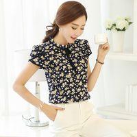 Wholesale black ruffle collar blouse - Blouse Womens Summer Floral Print Chiffon Blouse Ruffled Collar Bow Neck Shirt Petal Short Sleeve Shirt Tops Plus Size Blusas Femininas