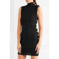 Wholesale knit dress collar black - Brand Designer Women Sleeveless Dresses 2018 Spring Summer Runway Metal Lion Buttons Stretch Knitting Bodycon Black Dresses Brief Knitwear
