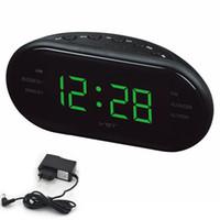 estante de relojes al por mayor-Gran LED Digital AM Radio FM Reloj Despertador Mesa Electrónica Reloj Estante Escritorio Relojes Con luz de fondo Snooze Reloj Nixie