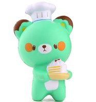 bollito de panda jumbo al por mayor-New Bear 14CM Kawaii Jumbo Panda chef pastelero Squishy Charm Pan Soft Slow Rising Kid Toy Gift Bollo de la torta de dibujos animados