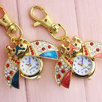 vender chaveiro venda por atacado-Chaoyada Venda Quente Besouro Animal rhinestone Relógio de Bolso Assista Mulheres Relógios De Quartzo crianças Chaveiro Relógio de Bolso