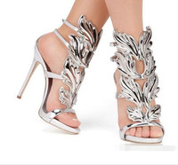 Wholesale gold peep toe shoes wedding - wholesaleand Top Brand Summer New Design Women Fashion Cheap Gold Silver Red Leaf High Heel Peep Toe Dress Sandals Shoes Pumps Women
