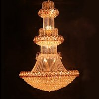 Wholesale large traditional chandelier - Large Luxury Traditional Crystal Chandelier For Hotel Lobby Pendant light and Villa Residence Ceiling Lamp