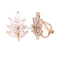 Wholesale big leaf charms resale online - Yoursfs New Arrival punk Fashion leaf Big Clip on Earrings Without Piercing for Women Party Charm No Hole Ear Clip