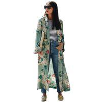 chaquetas largas de verano para mujer al por mayor-Mujeres étnicas estampado de flores blusa larga Kimono mujeres Cardigan Elegent blusa de verano de manga larga Blusas chemise femme Tops