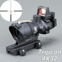 Wholesale Tactical Illuminated - Trijicon ACOG 4X32 Black Tactical Real Fiber Optic Red Illuminated Collimator Red Dot Sight Hunting Riflescope