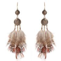 перо серьги бесплатная доставка оптовых-designer jewelry earriings for women feather earrings circle long coffe color wholesale Bohimian hot fashion free of shipping