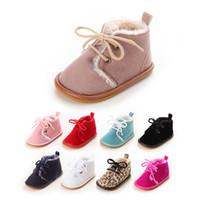 bottes bébé chaussures neige achat en gros de-9 couleurs bébé bottes enfants chaussures de designer enfant en bas âge Filles chaussures en caoutchouc souple fond épais bottes de neige chaudes premiers Walkers Sneakers de Noël