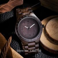 movimiento analógico de cuarzo al por mayor-2018 Nuevo reloj analógico de madera Natural de sándalo negro UWOOD Japón MIYOTA Movimiento de cuarzo Reloj de pulsera de madera vestido de relojes para unisex