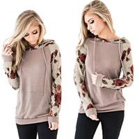 hoodies sweatshirts dhl toptan satış-Kadın Çiçek Kapüşonlular Uzun Kollu İpli Casual Rahat Tişörtü Kazak Sonbahar DHL S-3XL için cepler Mürettebat Boyun gömlekle Tops