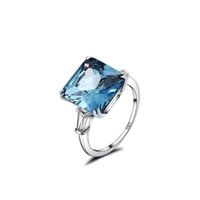 платина кольцо черная женщина оптовых-Алмазная дрель три поколения IJ цвет 3 карата платиновым покрытием стерлингового серебра женщины обручальное кольцо синий белый желтый черный