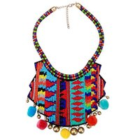 Wholesale beaded cluster - Ethic Beaded Seeds Cluster Tassel Charm Choker Jewelry Bohemian Colored Maxi Statement Necklace Collar for Women