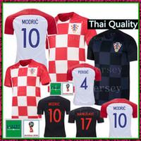 Wholesale men s green shirts - 2018 World Cup Soccer MODRIC Jersey 18 19 MANDZUKIC Soccer Shirts PERISIC MANDZUKIC KOVACIC RAKITIC SRNA BROZOVIC football uniforms