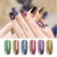 Wholesale holographic glitter nail art for sale - Group buy 7 ml Soak Off UV Chameleon Holographic Gel Polish Starry Sparkle Glitter Long lasting Nail Art Gel Varnish Lacquer