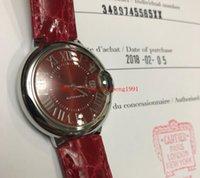 красный синий ремешок для часов оптовых-2018 Новый женские часы 33 мм синий Ballon WSBB0022 из нержавеющей стали красный циферблат Кожаный ремешок полосы автоматические женские часы