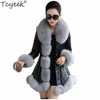 Wholesale leather fox fur coat - Tcyeek Winter Warm Women's PU Leather Jacket Faux Fox Fur Coat White Plus Size 4XL 5XL 6XL Jaqueta De Couro Feminino Overcoat