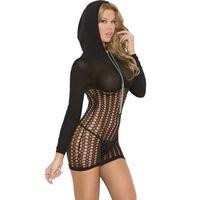 roupa interior de malha sexy para mulheres venda por atacado-Sexy lace lingerie dress mulheres malha underwear baby doll spandex fetiche sexo roupas para mulheres com capuz zipper camisola