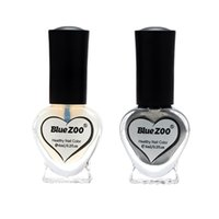 aynalı şişeler toptan satış-2 Şişe Set Ayna Gümüş Renk Nail Art Lehçe Vernik Güzellik Manikür DIY