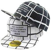 black hat cotton Canada - Fashion Plaid White Black Letter Boys Baseball  Caps Children Hip- 3565d9d55fcb