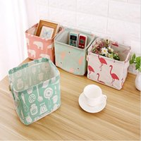 Wholesale desktop drawers - Foldable Cotton Grocery Storage Bag Desktop Drawer Clothes Snacks Organizer Basket with Handles 6 Styles OOA4273