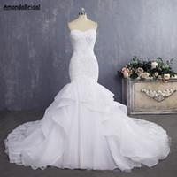 Amandabridal Cheap Bride Gown Sexy Mermaid Wedding Dresses Vintage Lace Wedding Dresses 2021 With Detachable Straps Pleat Layer