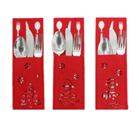 Wholesale cloth bags candles - New 3Pcs Set Rectangle Christmas Silverware Bag Fork And Knife Cloth Hollow Holder Table Dinner Decoration Santa Claus Pocket