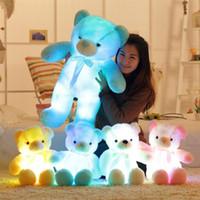yılbaşı ışıkları oyuncakları toptan satış-30 cm 50 cm Renkli Parlayan Teddy Bear Aydınlık Peluş Oyuncaklar Kawaii Işık Up LED Teddy Bear Dolması Doll Çocuk Noel oyuncaklar