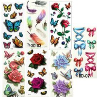 Wholesale Tattoo Stickers Body For Girl - 7PCS Beautiful Cute Water Transfer Tattoos Body Art Makeup Cool 3D Waterproof Temporary Tattoo Stickers For Girls Man