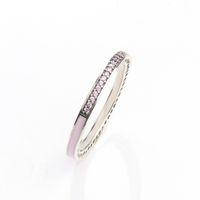 klarer grüner stein großhandel-925 Sterling Silber Band Ring Blue \ Pink \ Green Emaille und klare CZ Stein Womens Ring Logo Original Box für Pandora Schmuck