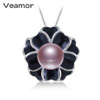 11мм подвеска из белого жемчуга оптовых-Veamor Flower Pearl Pendant 10-11mm White Freshwater Pearl Pendant 925-Silver-Jewelry Fine Jewelry Gift For Women