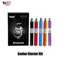 kits ego purple venda por atacado-Autêntico Yocan Evolve Starter Kit Roxo cera caneta Vaporizador com 0.8ohm Quartz Dupla Bobina 650 mAh Bateria ego thread atomizador Original