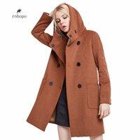 женская прямая куртка оптовых-кофе/серый зимний женский длинное пальто, твердые официальные леди шерстяные смеси на бедра длинная куртка,повседневная колледж девушка шляпа прямое пальто