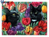lale boyaları toptan satış-Rhinestone tam yuvarlak elmas nakış hayvan kedi çiçek lale 5D diy elmas boyama çapraz dikiş kiti ev mozaik dekor hediye yx2256