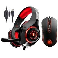 pc gaming headset surround sound großhandel-Kotion EACH Stereo-Gaming-Headset für Xbox One PS4-PC-Surround-Sound-Over-Ear-Kopfhörer + 7-Tasten-Pro-Gaming-Maus mit 3200 DPI