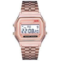 Wholesale rectangle led - Luxury F-91W Watches Ultra Thin Multifunction LED Digital Wristwatch Men Women Unisex Stainless Steel Sport Watches