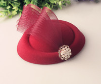 Wholesale pillbox fascinator resale online - Multiple colors pillbox deign fascinator headwear wedding hats fascinator base with brooch adorned party hats cocktail hairstyle